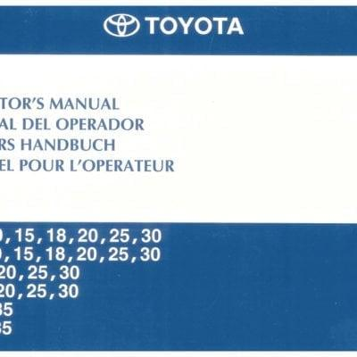 Toyota 7 Series 1-3 Ton Operators Manual